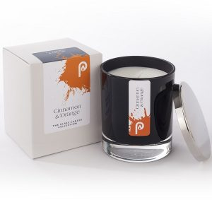 Cinnamon and Orange Glass Candle Collection Black Glass