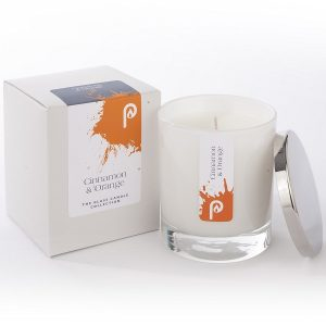 Cinnamon and Orange Glass Candle Collection White Glass