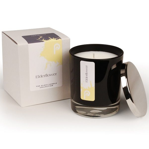 Elderflower Glass Candle Collection Black Glass
