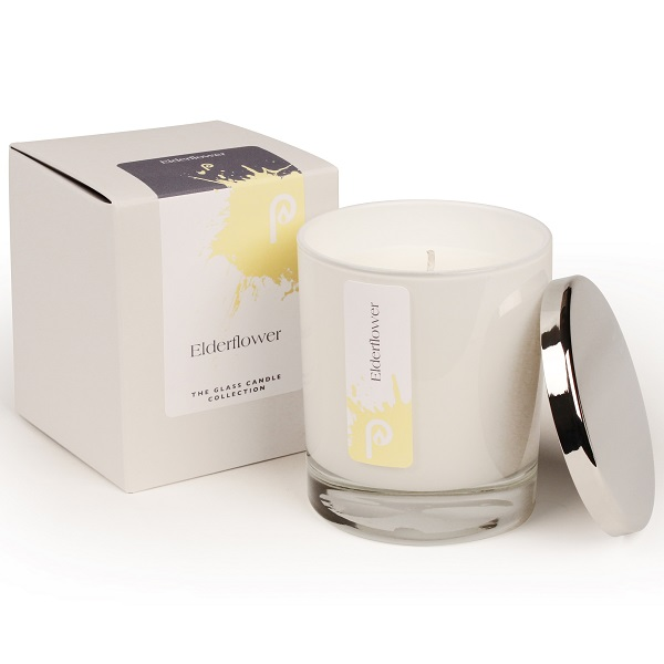 Elderflower Glass Candle Collection White Glass