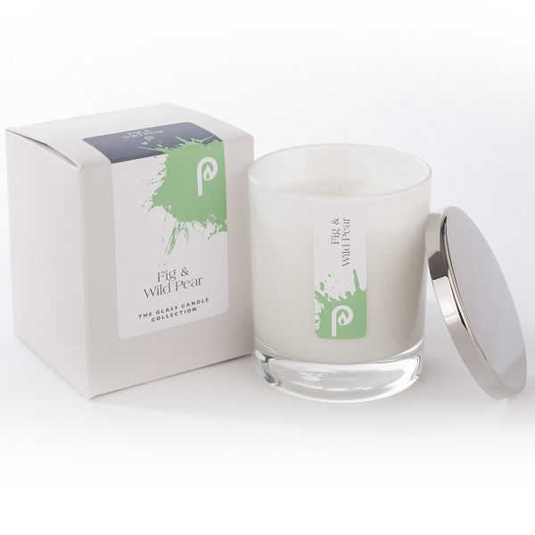 Fig and Wild Pear Glass Candle Collection White Glass