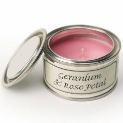 Geranium & Rose Petal Paint Pot Candle
