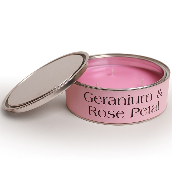 Geranium and Rose Petal Triple Wick Candle