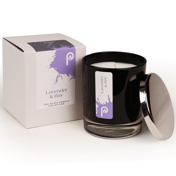 Lavender and Bay Glass Candle Collection Black Glass