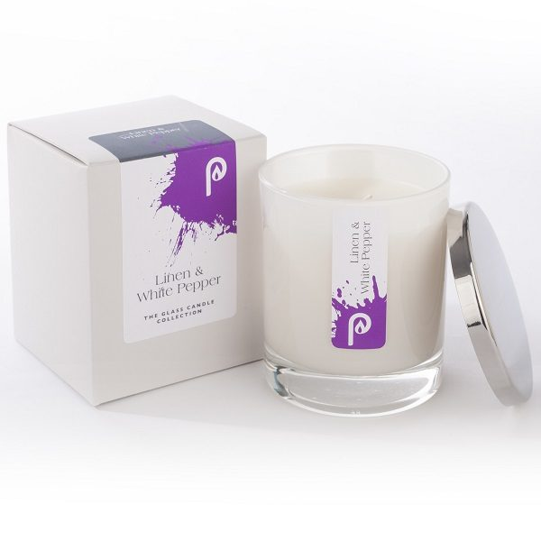 Linen and White Pepper Glass Candle Collection White Glass