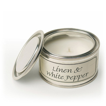 Linen and White Pepper Paint Pot Candle