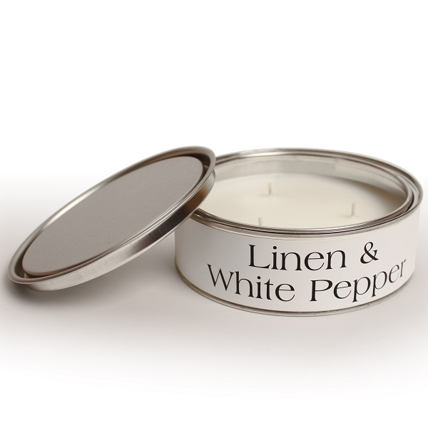 Linen and White Pepper Triple Wick Candle