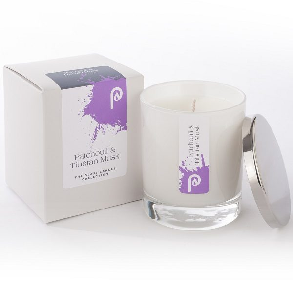 Patchuli and Tibetan Musk Glass Candle Collection White Glass