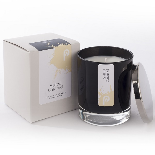 Salt Caramel Glass Candle Collection Black Glass