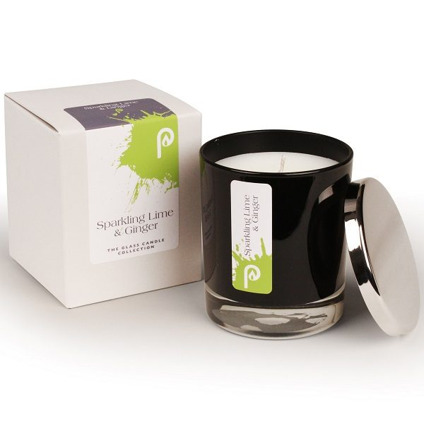 Sparkling Lime and Ginger Glass Candle Collection Black Glass