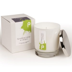 Sparkling Lime and Ginger Glass Candle Collection White Glass
