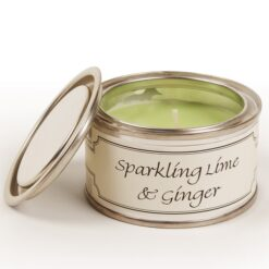 Sparkling Lime and Ginger Paint Pot Candle. Light green
