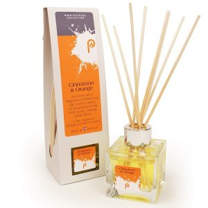 Cinnamon and Orange Reed Diffuser showing scent bottle and reeds