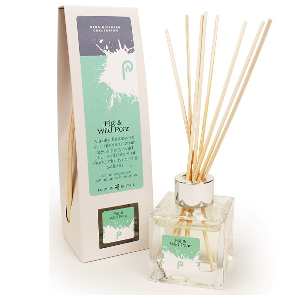 Fig and Wild Pear Reed Diffuser showing scent bottle and reeds
