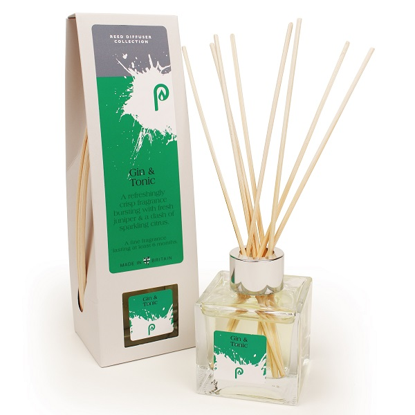Gin and Tonic Reed Diffuser showing scent bottle and reeds