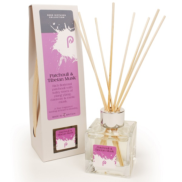 Patchouli and Tibetan Musk Reed Diffuser showing scent bottle and reeds