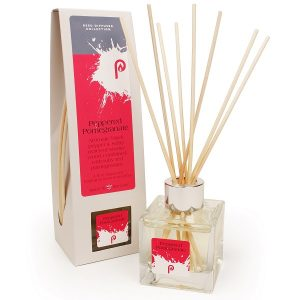 Peppered Pomegranate Reed Diffuser showing scent bottle and reeds