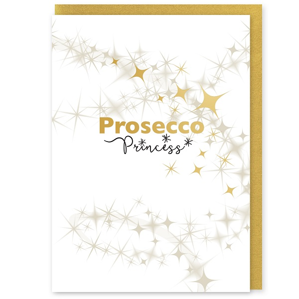 Prosecco Princess Greetings Card and Envelope