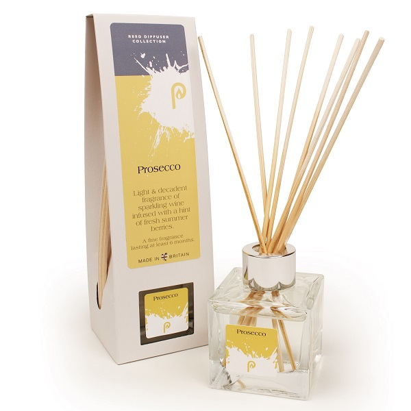 Prosecco Reed Diffuser showing scent bottle and reeds
