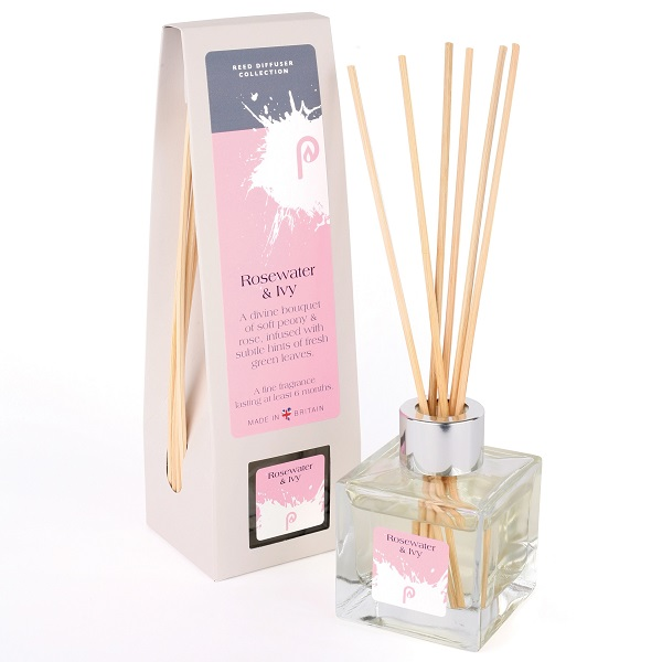 Rosewater & Ivy Reed Diffuser showing scent bottle and reeds