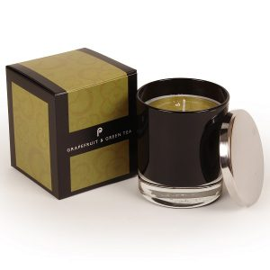 Grapefruit and Green Tea-Black Glass Candle