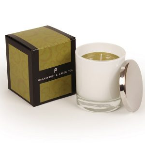 Grapefruit and Green Tea-White Glass Candle
