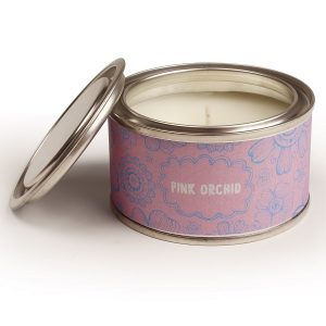 Pink Orchid Floral Candle