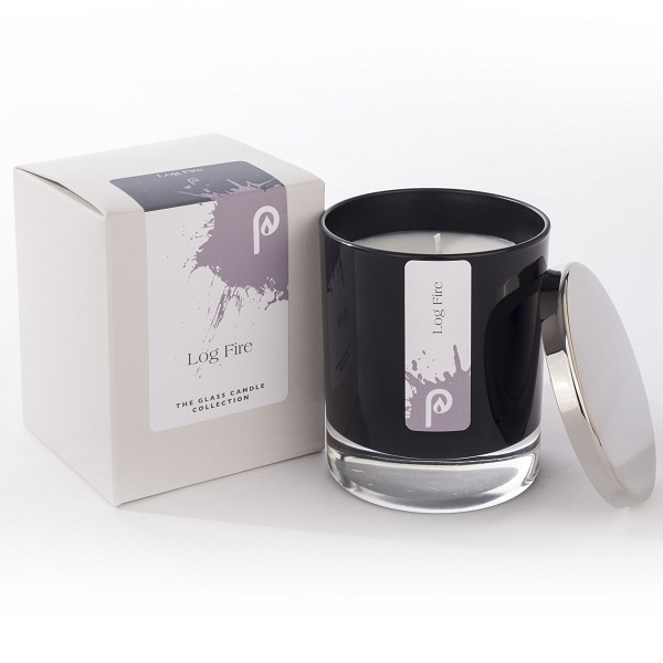 Log Fire Glass Candle Collection Black