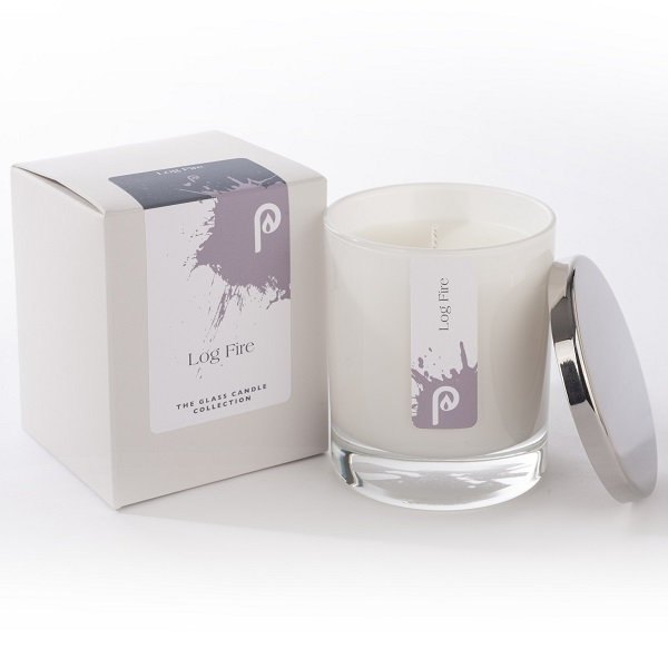 Log Fire Glass Candle Collection White