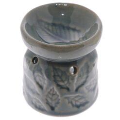 Small Ceramic Oil Burner with Leaf Pattern Grey Green