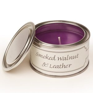 Smoked Walnut and Leather Paint Pot Candle