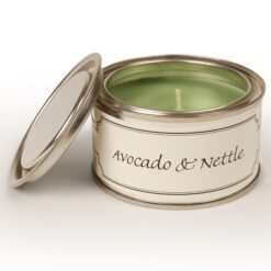 Avocado and Nettle Paint Pot Candle. Light Green.