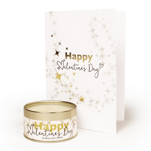 Happy Valentines Day Occasions Candle and Card