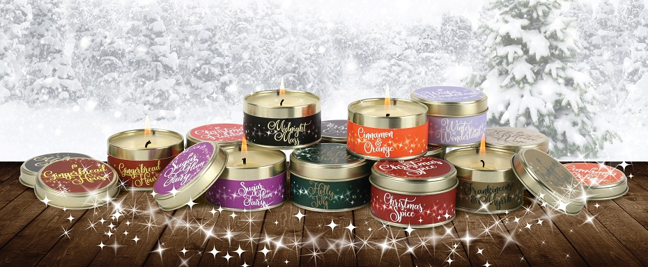Scents of Christmas Candles Group Picture with Snowy Background
