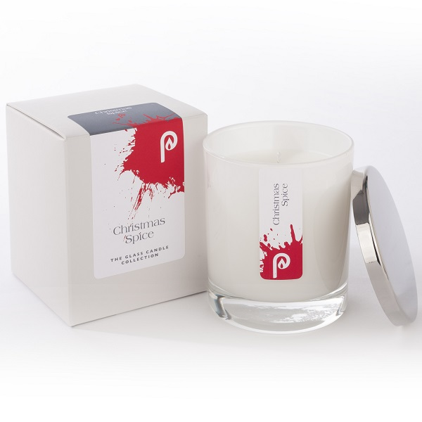 Christmas Spice Glass Candle Collection White Glass and Box
