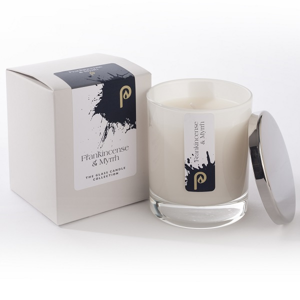 Frankincense and Myrrh Glass Candle Collection White Glass and Box