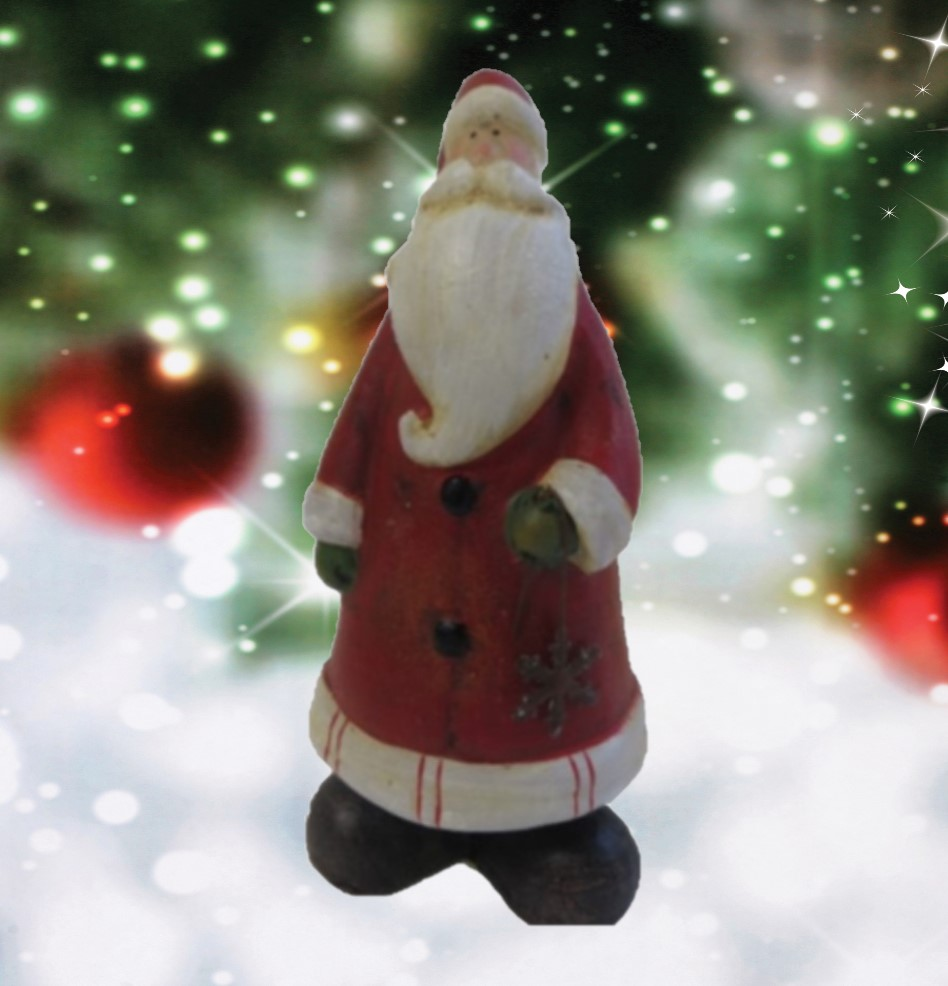 Father Christmas Ceramic Fifure Medium with Festive Background