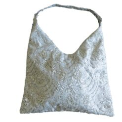 Hand and Shoulder Bag Silver Front View with Short Strap