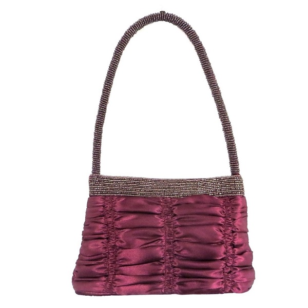 Burgundy ruched satin bag with beaded handle