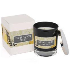 Elderflower Presse Elements Glass Candle Black and Box