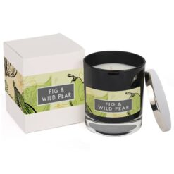 Fig & Wild Pear Elements Glass Candle Black and Box