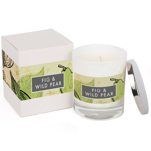 Fig & Wild Pear Elements Glass Candle White and Box