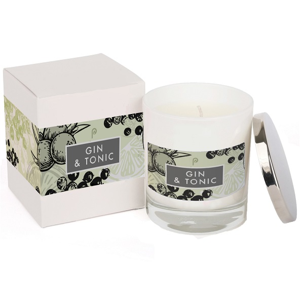 Gin and Tonic Elements Glass Candle White and Box