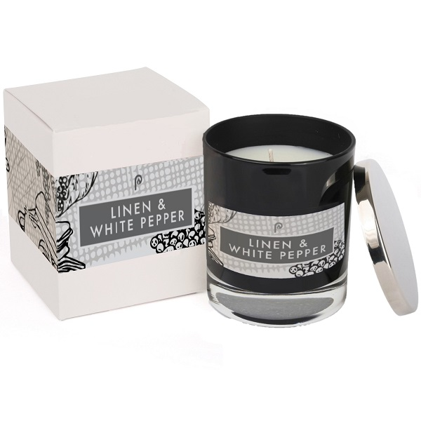 Linen & White Pepper Elements Glass Candle Black and Box