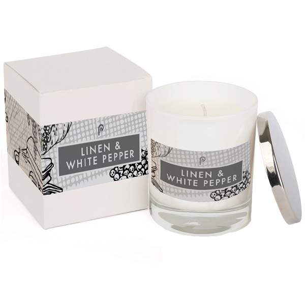 Linen & White Pepper Elements Glass Candle White and Box