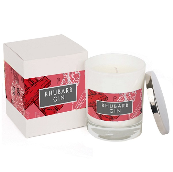 Rhubarb Gin Elements Glass Candle White with Box
