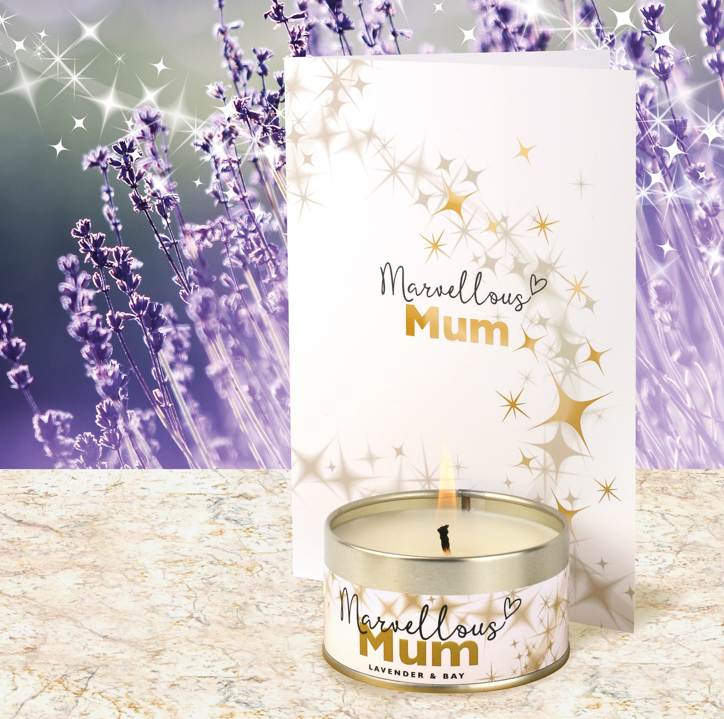 Marvellous Mum Card and Candle in a Lavender & Bay fragrance