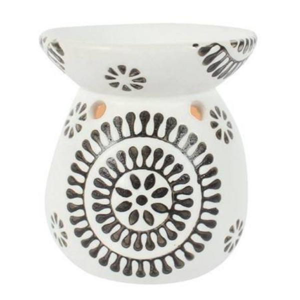 Black and White Pattern Ceramic Oil Burner Front View