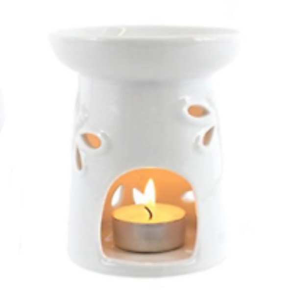 Dragonfly White Gloss Ceramic Oil Burner Back View with Tealight
