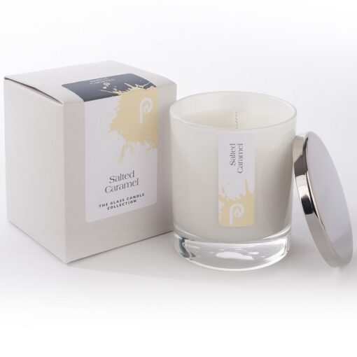 Salt Caramel Glass Candle in White Glass and a Presentation Box